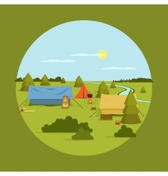 Image of camping on vocation vector