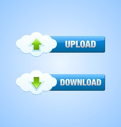 Upload and download cloud buttons vector image