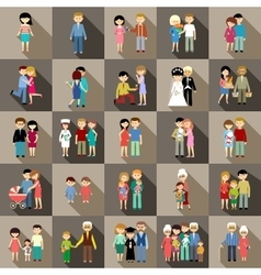 The big set of family life in style flat design vector image