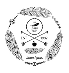 Ethnic feathers label vector