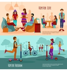Hipster people banner set vector