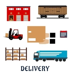 Delivery and storage service flat icons vector image