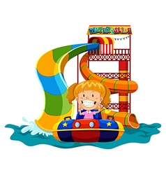 Girl playing on water slide vector