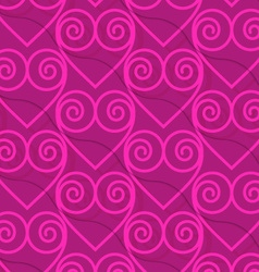 Retro 3d deep pink swirly hearts vector
