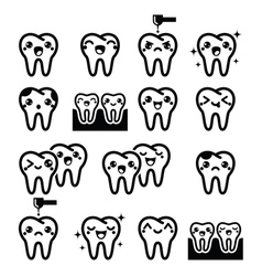 Kawaii tooth cute teeth characters - black vector