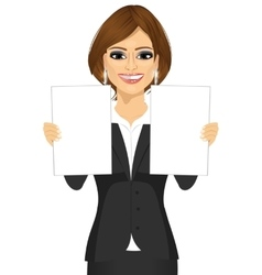 Business woman holding two blank papers vector