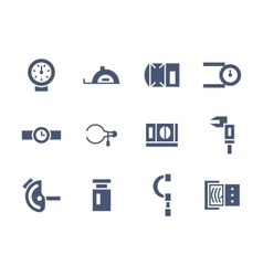 Simple glyph measuring tools icons set vector