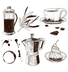 Hand drawn set of cafe items vector