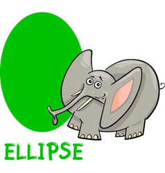 ellipse shape with cartoon elephant vector image
