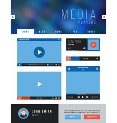 Browser web site page with video player ui vector