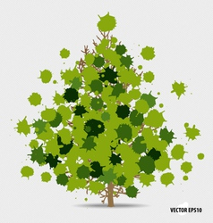 Abstract tree with green leaves on white vector image
