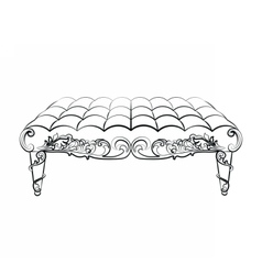 Bench furniture in classic rococo style vector