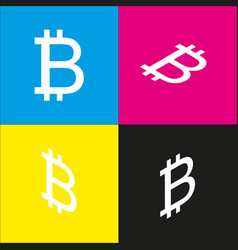 Bitcoin sign white icon with isometric vector