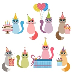 Cats on birthday party vector