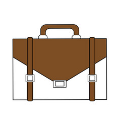 Color silhouette image executive briefcase with vector