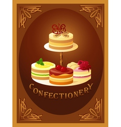 Confectionery sign with four kinds of cakes vector