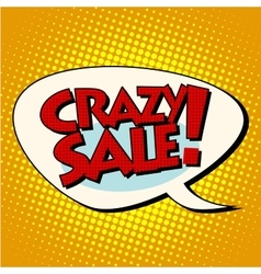 crazy sale comic bubble lettering vector image vector image