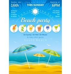 Day beach poster with umbrellas and cocktail icons vector image