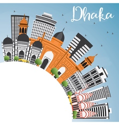 Dhaka skyline with gray buildings vector