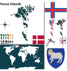 Faroe Islands map world vector image vector image