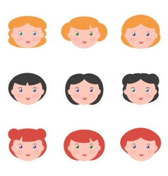 Flat design female avatars vector image
