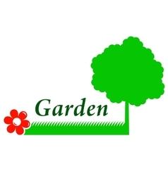 garden background with tree grass and flower vector image vector image