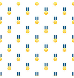 Gold medal with blue ribbon pattern vector