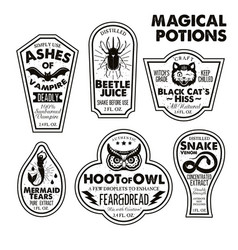 Halloween bottle labels potion labels vector