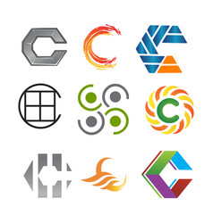 initial letter c logo pack vector image vector image