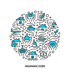 insurance service outline icons set vector image vector image