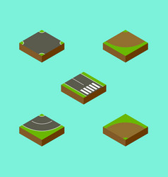 Isometric way set of turn sand pedestrian vector