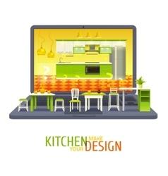 Kitchen design project background vector