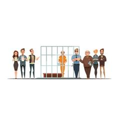Law Justice Sentence Retro Cartoon POster vector image vector image