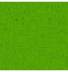 Line Christmas Green Seamless Pattern vector image vector image