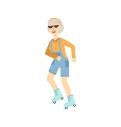 Old Woman Roller Skating vector image