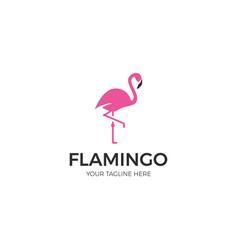 Pink flamingo logo template vector