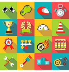 Racing icons set flat style vector
