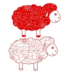 Red sheep vector image vector image