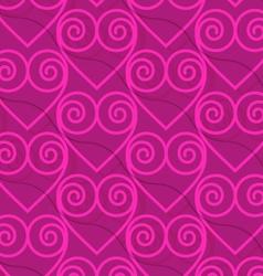 Retro 3d deep pink swirly hearts vector