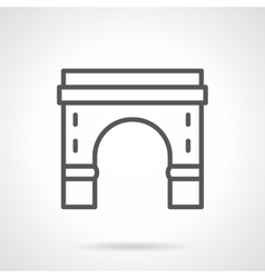 Round arch with pillars black line icon vector