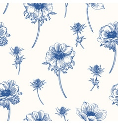seamless pattern with anemones flowers vector image vector image