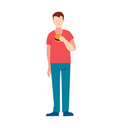 Slender young man with hamburger vector