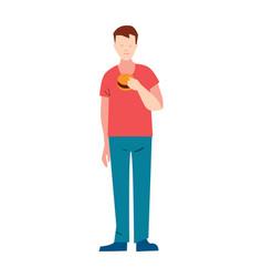 Slender young man with hamburger vector