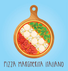 The real pizza margherita italiano on wooden board vector