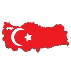 Turkey state flag and map design vector
