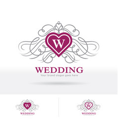 Wedding logo heart shape crest with decorative vector