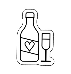 Wine bottle and cup isolated icon vector