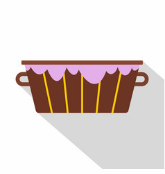 wooden bucket with foam icon flat style vector image vector image