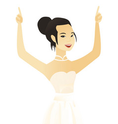 Young asian fiancee standing with raised arms up vector