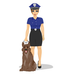Young policewoman standing with a dog vector